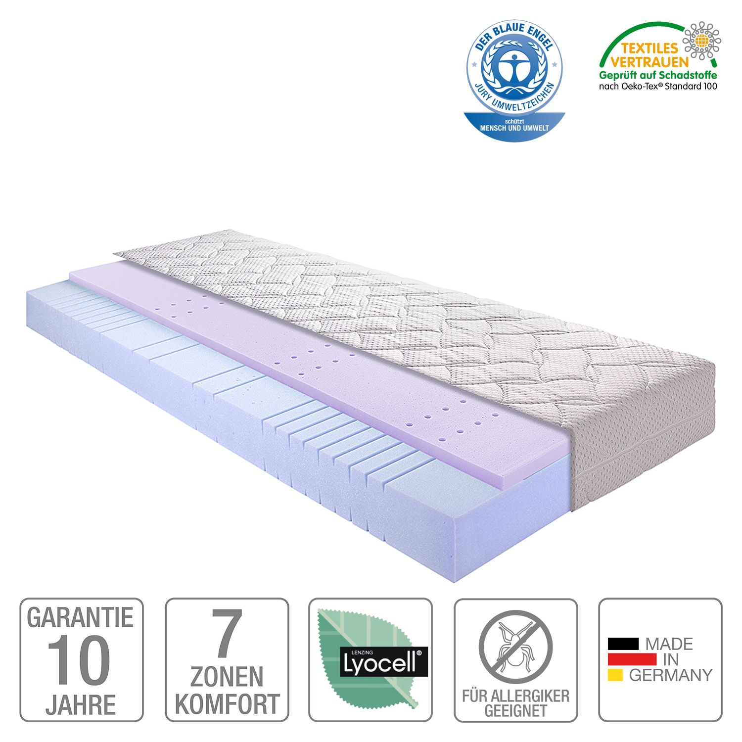 Materasso in schiuma Sleep Gel 2, Breckle