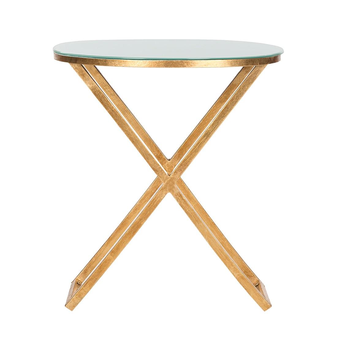 Table d'appoint Riona - Fer doré / Verre blanc, Safavieh