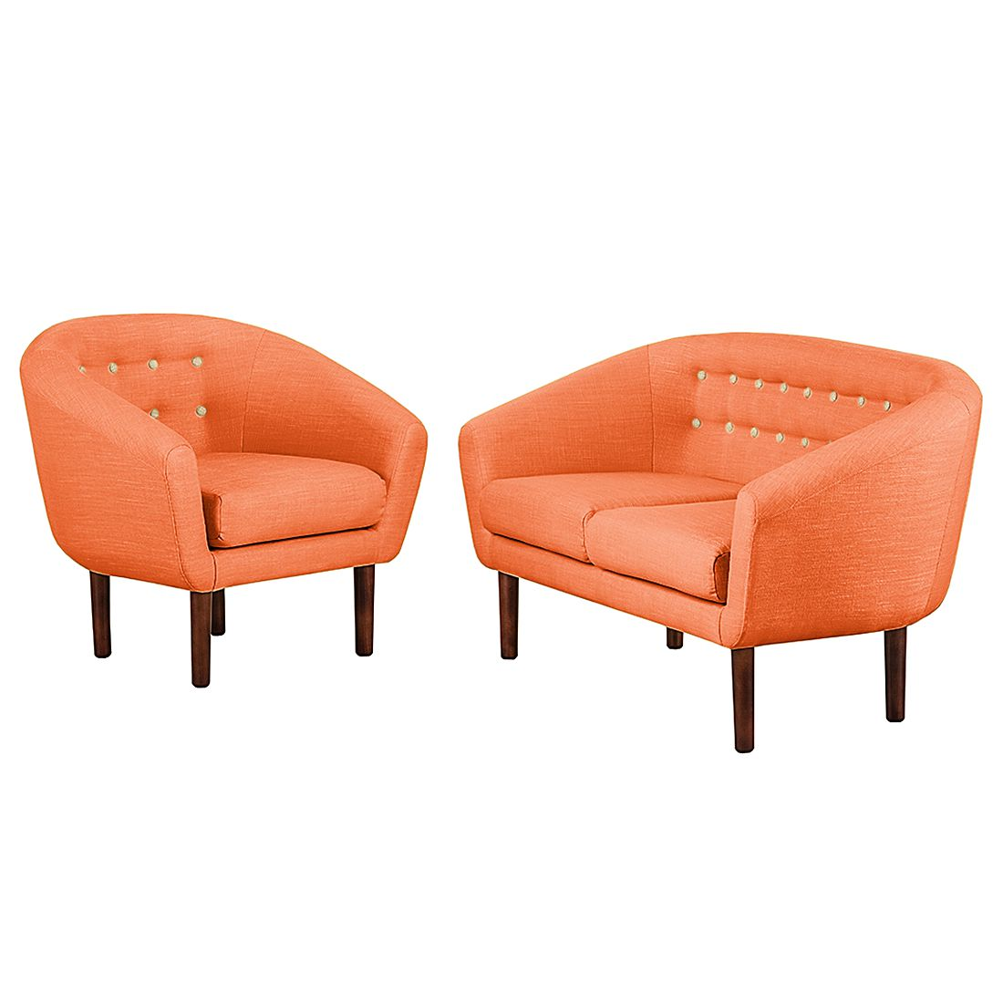 goedkoop Bankstellen Anna I 2zitsbank en fauteuil geweven stof Oranje Morteens