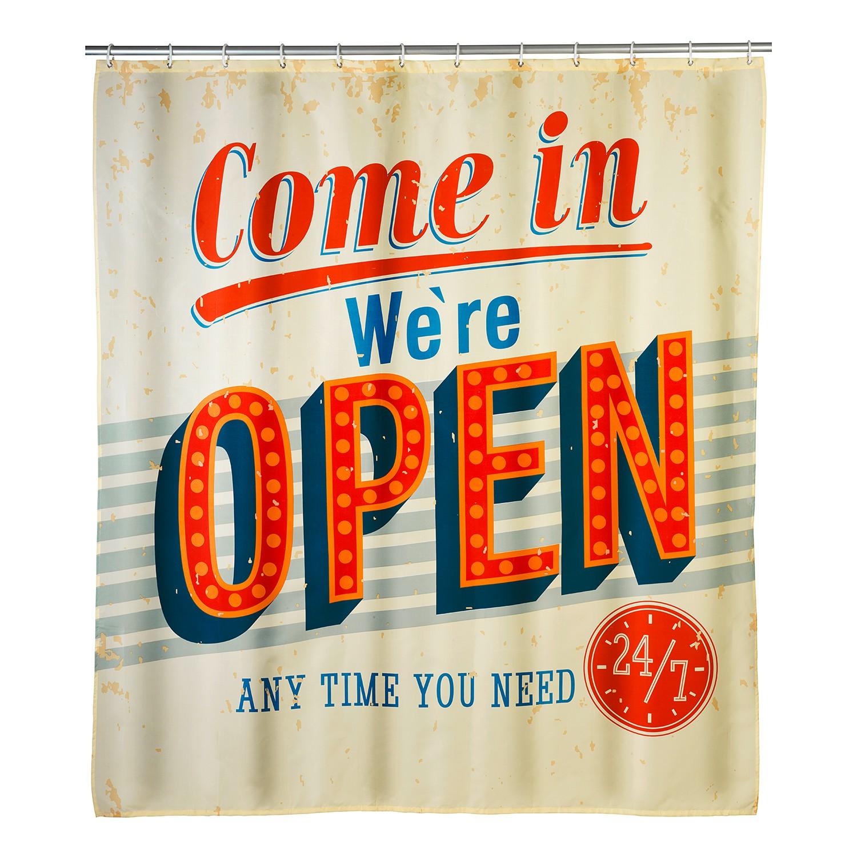 Wenko Anti-Schimmel Duschvorhang Vintage Open 180 cm x 200 cm