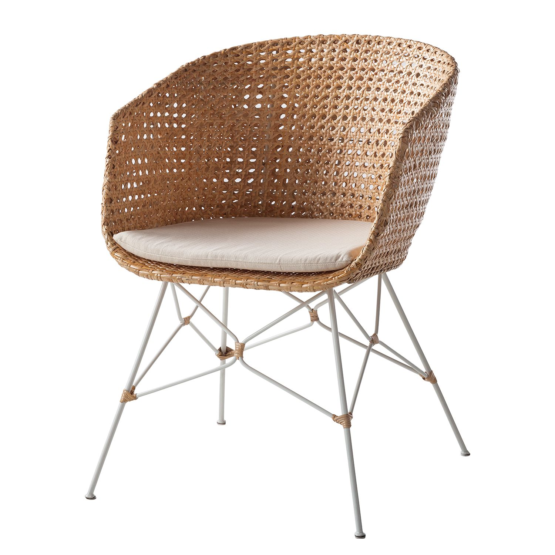 Image of Sedia con braccioli Nokomani (incl. cuscino da seduta) - rattan / metallo - rattan / bianco, ars manufacti