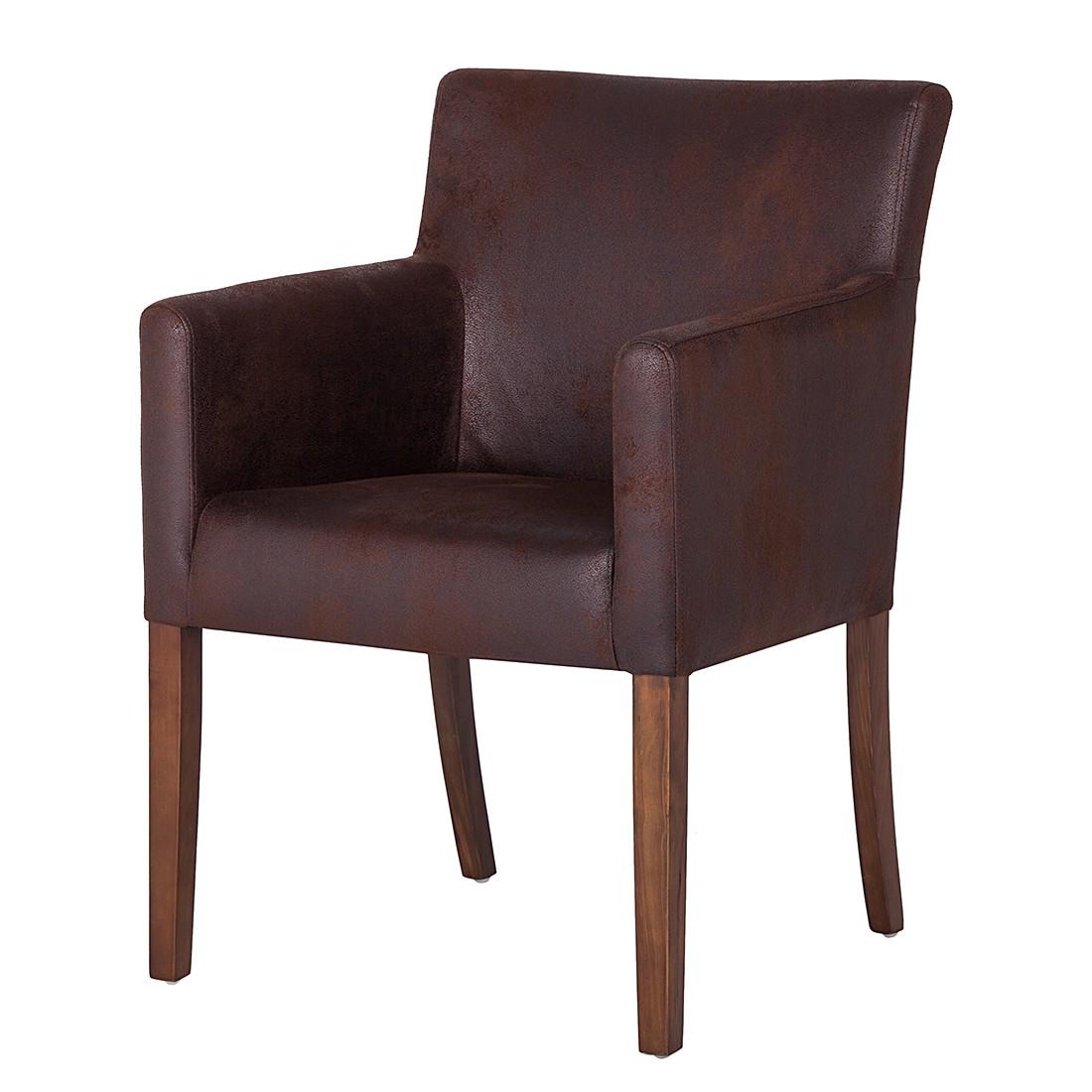 Image of Sedia con braccioli Lincoln - Microfibra marrone/betulla marrone chiaro - Colore marrone, Maison Belfort