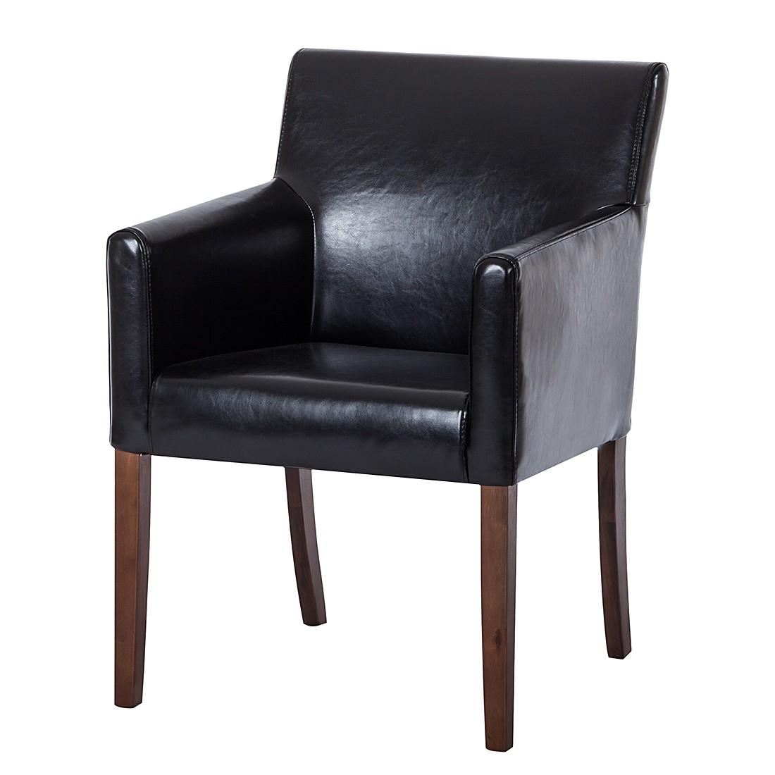 Image of Sedia con braccioli Lincoln - Similpelle nera/betulla marrone chiaro, Maison Belfort