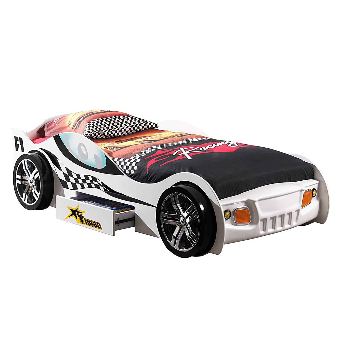 home24 Autobett Turbo Racing | Kinderzimmer | Weiss | Vipack