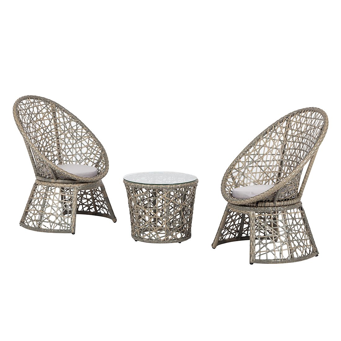 Set da giardino Moosh (3 pezzi) - Polyrattan Color antracite, Jack and Alice