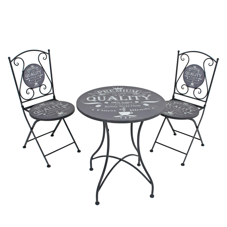 home24 Balkonmoebelset Royal (3-teilig) | Garten > Balkon > Balkon-Sets | Grau | Metall | Garden Pleasure