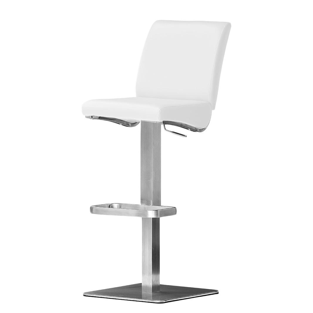 home24 Barstuhl Hoover | Küche und Esszimmer > Bar-Möbel > Barhocker | Silber | Kunstleder | roomscape