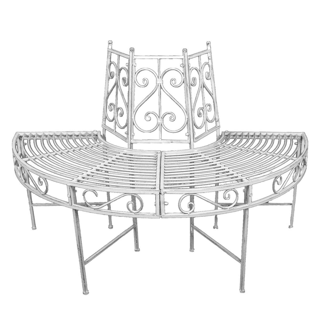 Baumbank Varda - Stahl - Weiß, Garden Pleasure