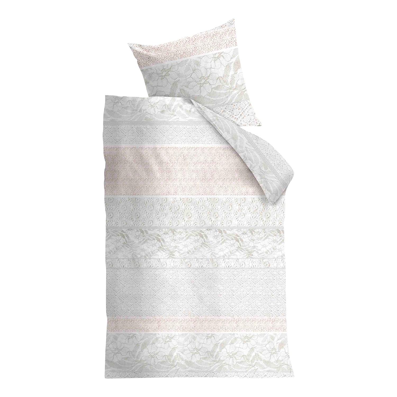 Bettwäsche Lacy - Baumwollstoff Weiß / Pastellrosa 135 x 200 cm + Kissen 80 jetztbilligerkaufen