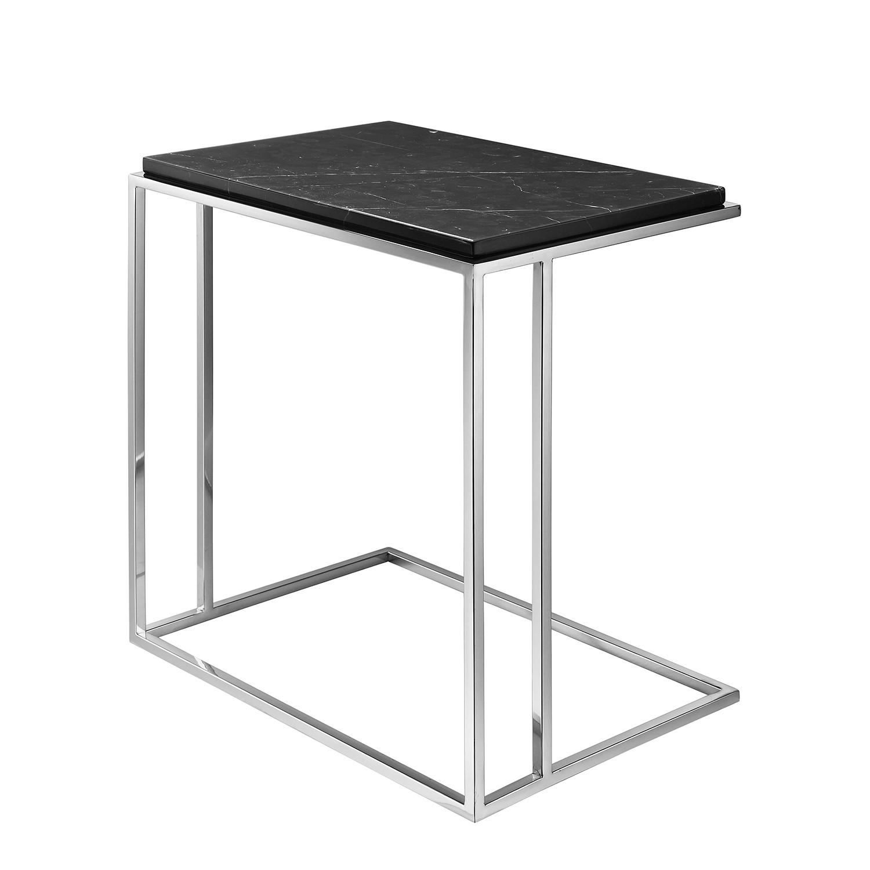 Table d'appoint Ben - Marbre / Acier inoxydable - Noir / Argenté, Fredriks