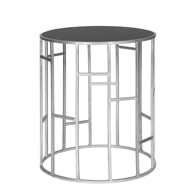Table d'appoint Doreen - Fer / Miroir en verre Argenté Noir, Safavieh