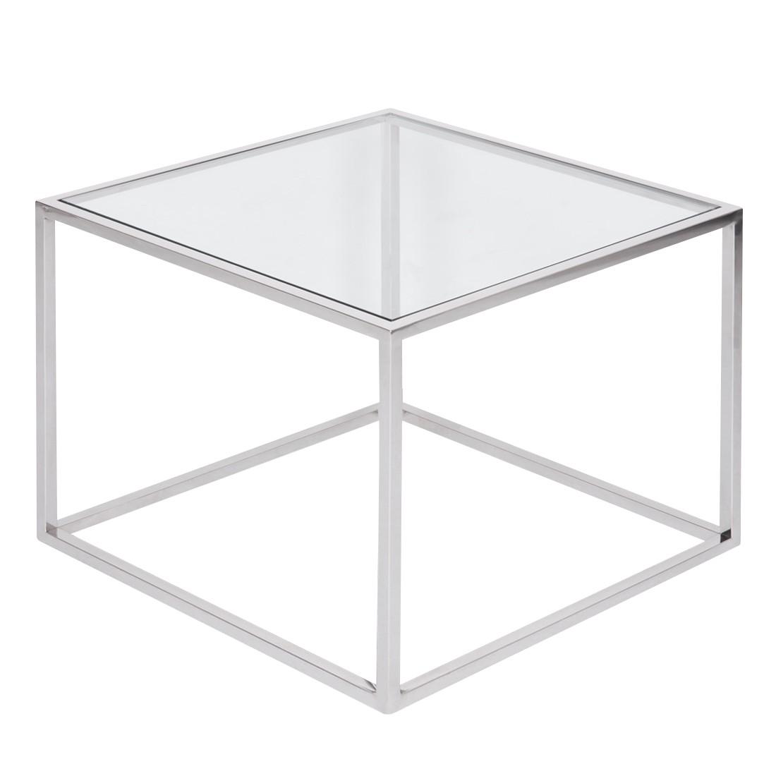 Table d'appoint Jacob - Verre / Acier inoxydable - Argenté, Fredriks