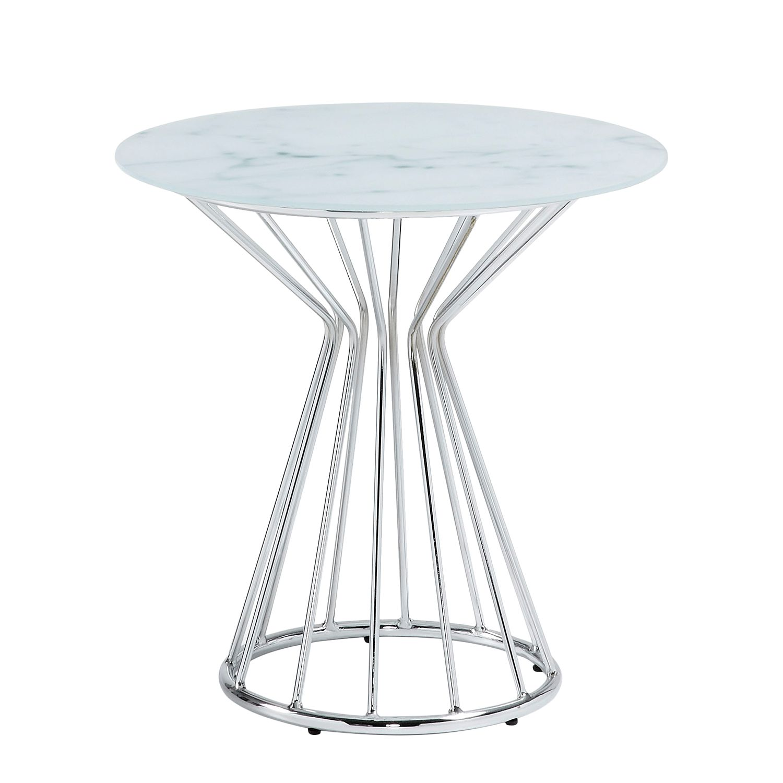 Table d'appoint Kayenta - Verre / Acier - Imitation marbre / Chrome, reconcept