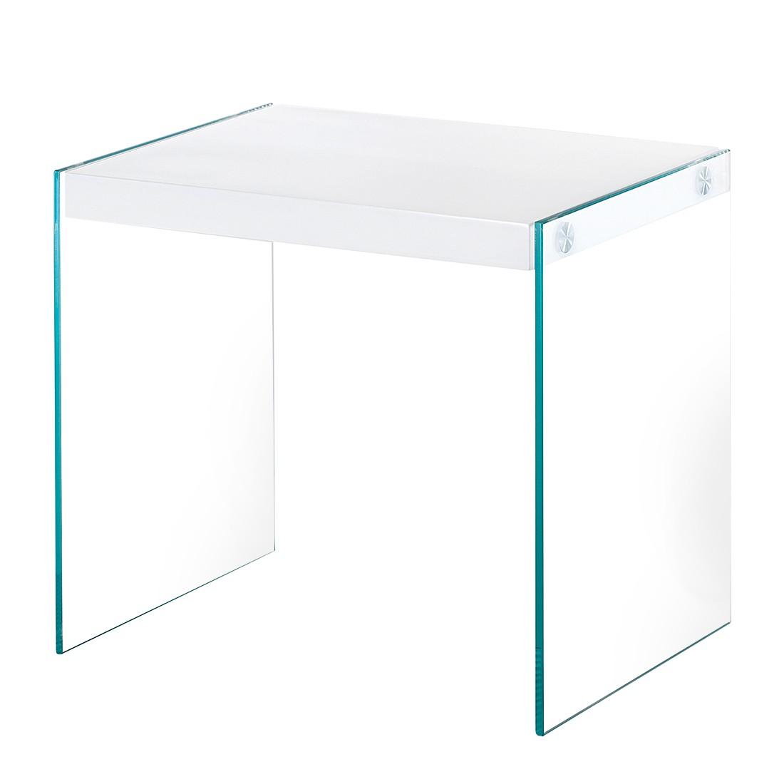 Beistelltisch Savoie - Klarglas/Hochglanz Weiß, Home Design
