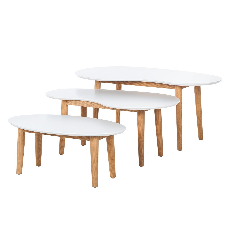 Set di tavolini Lindholm (3 pezzi) - Bianco/faggio massello, Morteens
