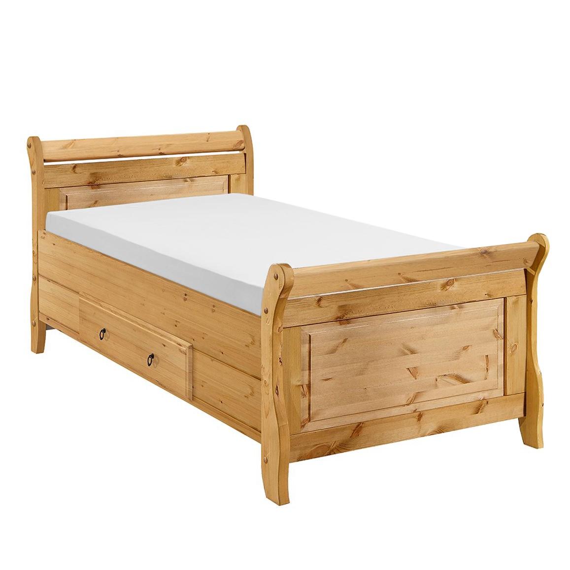 goedkoop Bed Cenan massief grenenhout 100 x 200cm Geloogd grenenhout Maison Belfort