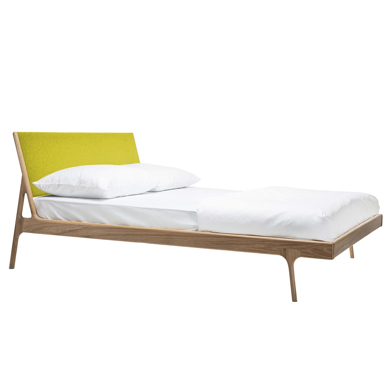 goedkoop Bed Fawn I massief eikenhout 160 x 200cm Lichte eikenhouten Stof Muya Geel Gazzda