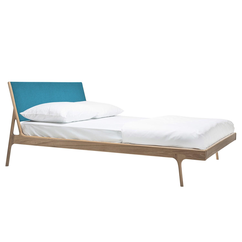 goedkoop Bed Fawn I massief eikenhout 160 x 200cm Lichte eikenhouten Stof Gaia Petrolblauw Gazzda