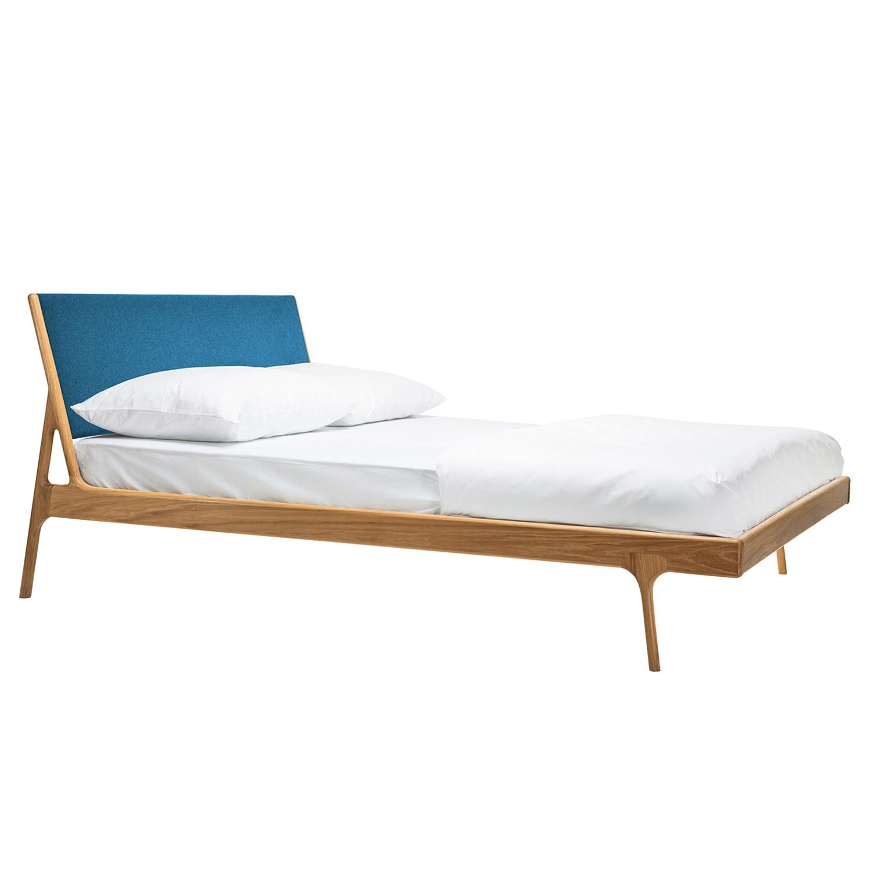goedkoop Bed Fawn I massief eikenhout 180 x 200cm Eikenhout Stof Muya Petrolblauw Gazzda