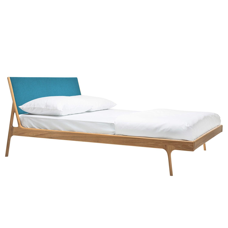goedkoop Bed Fawn I massief eikenhout 180 x 200cm Lichte eikenhouten Stof Gaia Petrolblauw Gazzda
