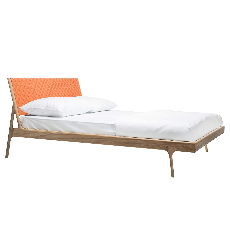 goedkoop Bed Fawn II massief eikenhout 160 x 200cm Lichte eikenhouten Abrikoos Gazzda