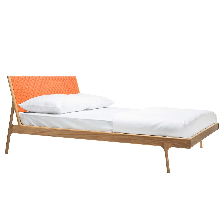goedkoop Bed Fawn II massief eikenhout 180 x 200cm Eikenhout Abrikoos Gazzda
