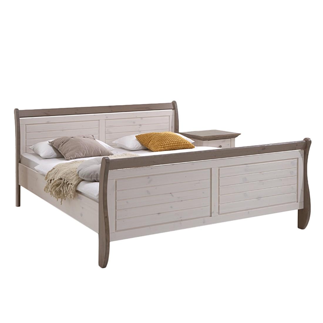 goedkoop Massief houten bed Lyngby 140 x 200cm Wit steengrijs Gebeitst beukenhouten walnoot & gelakt grenenhout Maison Belfort
