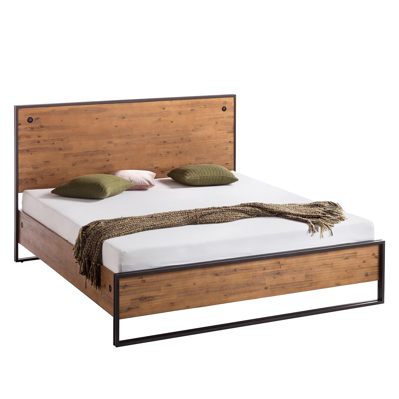 goedkoop Bed Manchester massief acaciahout metaal acaciahout antracietkleurig 180 x 200cm ars manufacti