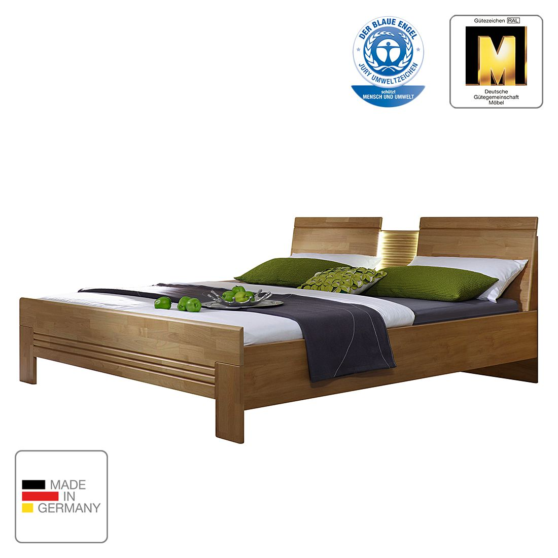 goedkoop energie A+ Bed Savina 200 x 200cm Wild eikenhout Met verlichting Rauch Steffen