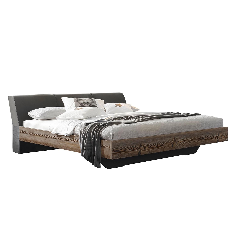 goedkoop Bed Streetway larikshouten look basaltkleurig kunstleer 140 x 200cm Rauch Select