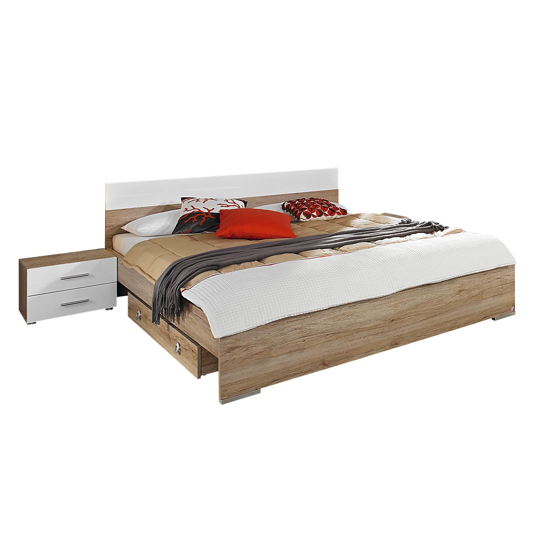 goedkoop Beddenset Lorca 3 delig 160 x 200cm Met bedlade Lichte San Remo eikenhouten look Rauch Packs