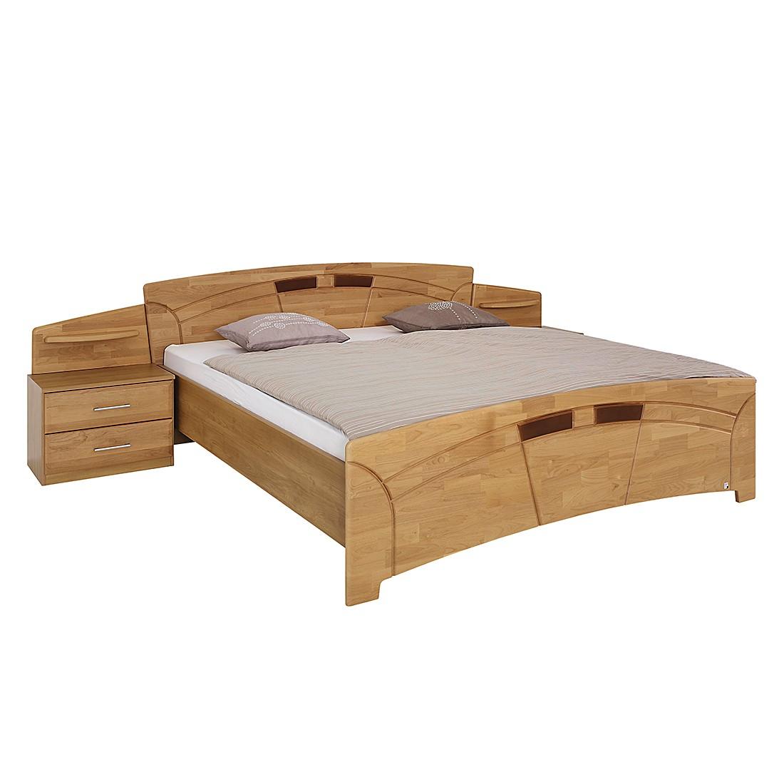goedkoop Bed met nachtkastjes Sarah I deels massief elzenhout gelakt ligoppervlak: 200x200cm Rauch Steffen