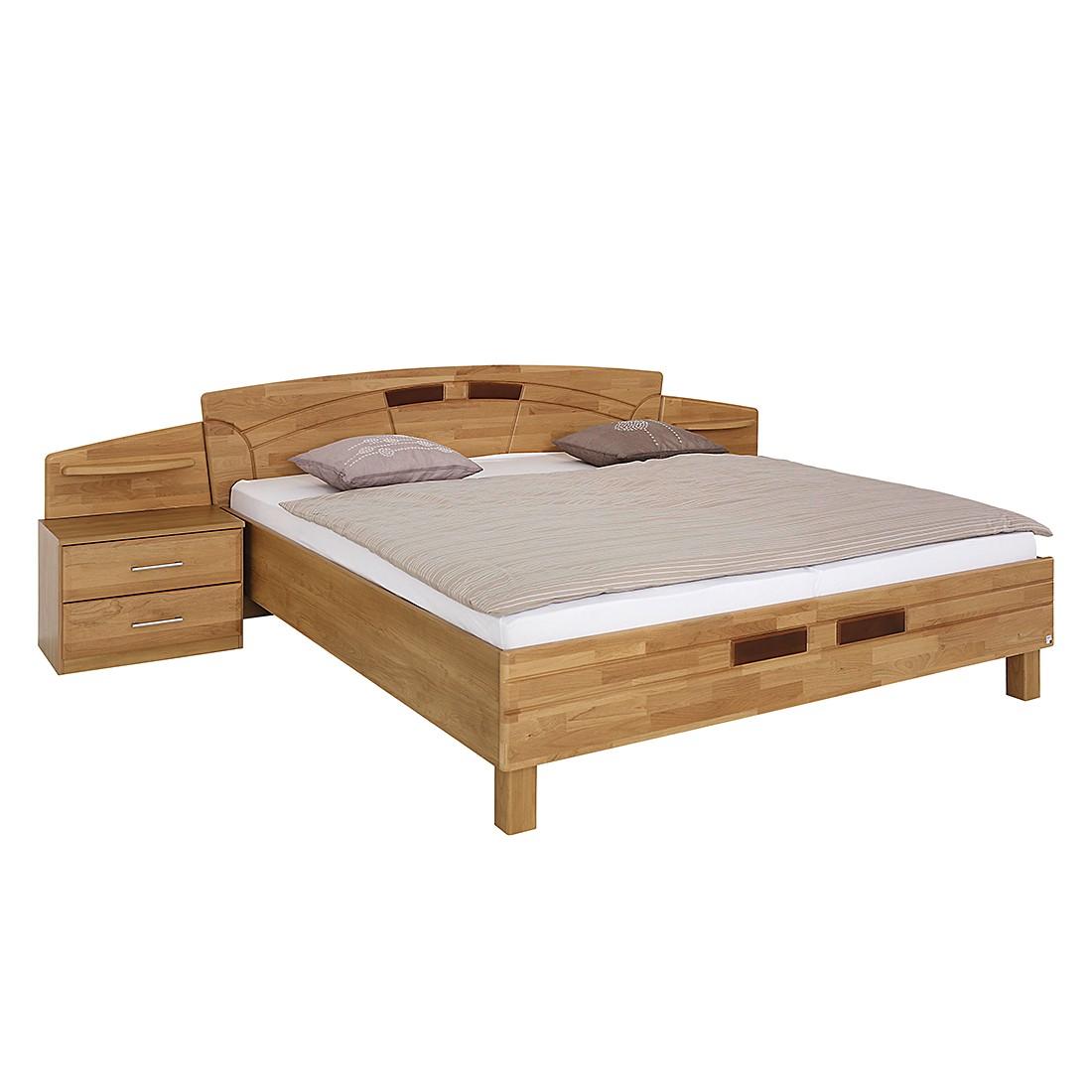 goedkoop Bed met nachtkastjes Sarah II deels massief elzenhout gelakt ligoppervlak: 200x200cm Rauch Steffen
