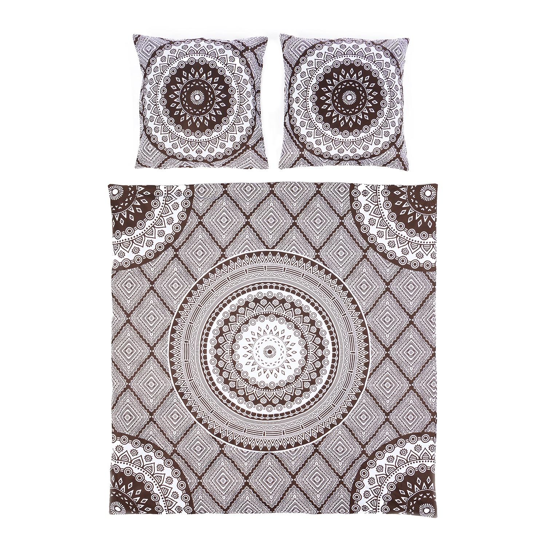 Bettwäsche New Mandala - Baumwollstoff - Anthrazit / Weiß - 240 x 220 cm + 2 Kissen 80 x 80 cm, Eva Padberg Collection