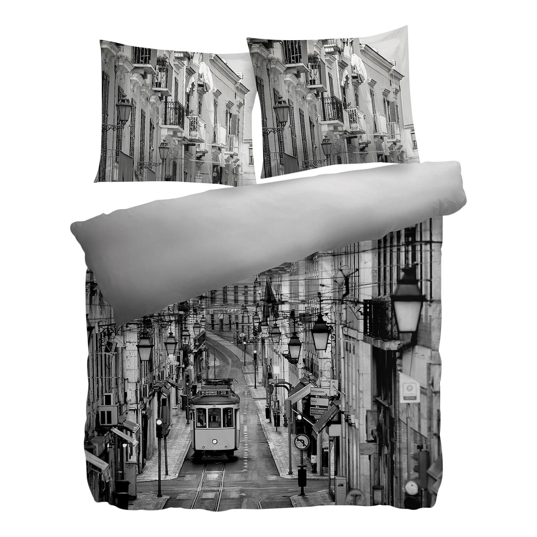 Wendebettwäsche Rica - Baumwollstoff Hellgrau / Schwarz 135 x 200 cm + Kissen 80 jetztbilligerkaufen
