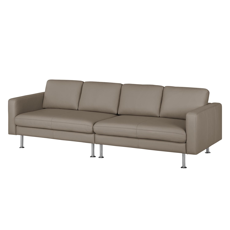 Grand canapé Bivona I - Cuir véritable - Gris sablé, Nuovoform