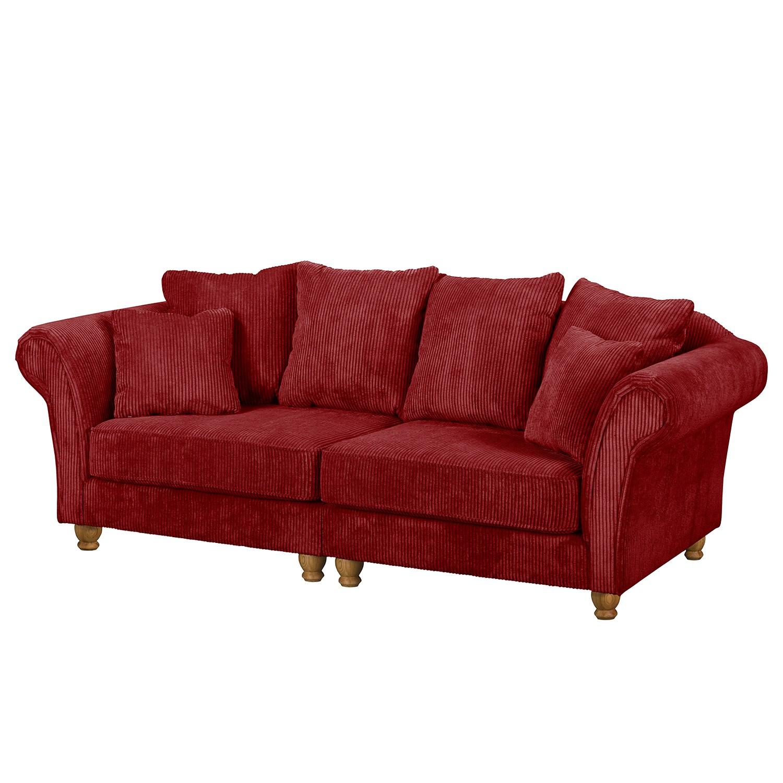 home24 Maison Belfort Bigsofa Colares Rot Cord 216x83x88 cm