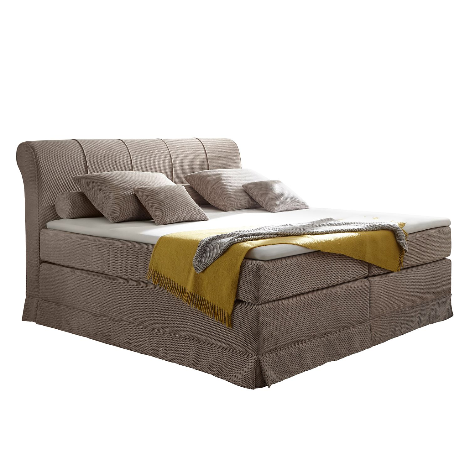 Lit boxspring Dixon - Microvelours - Beige, Ridgevalley