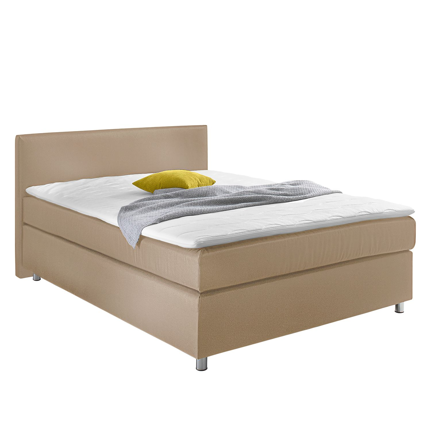 goedkoop Boxspring Frimley incl. topper geweven stof Beige reconcept
