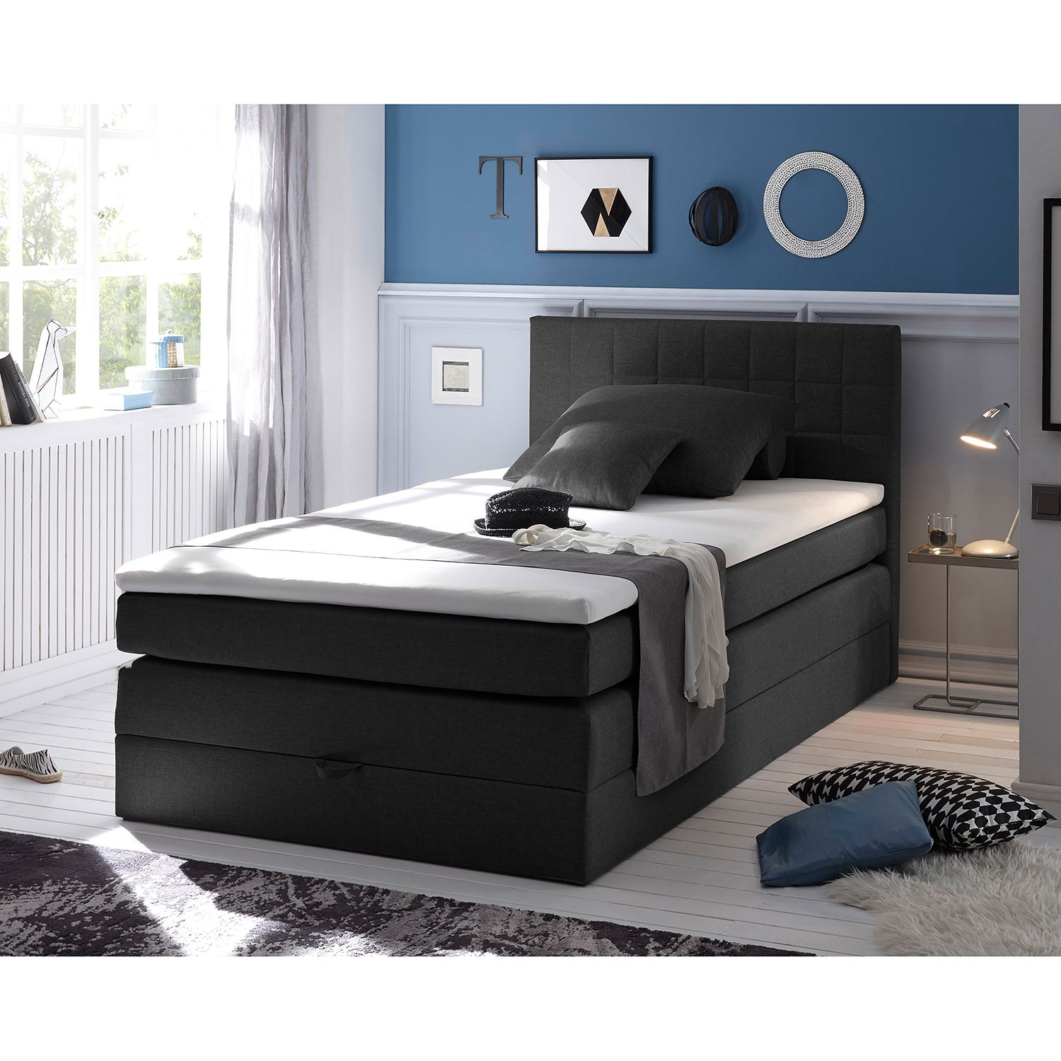 home24 Boxspringbett Harvi (inkl. Topper)