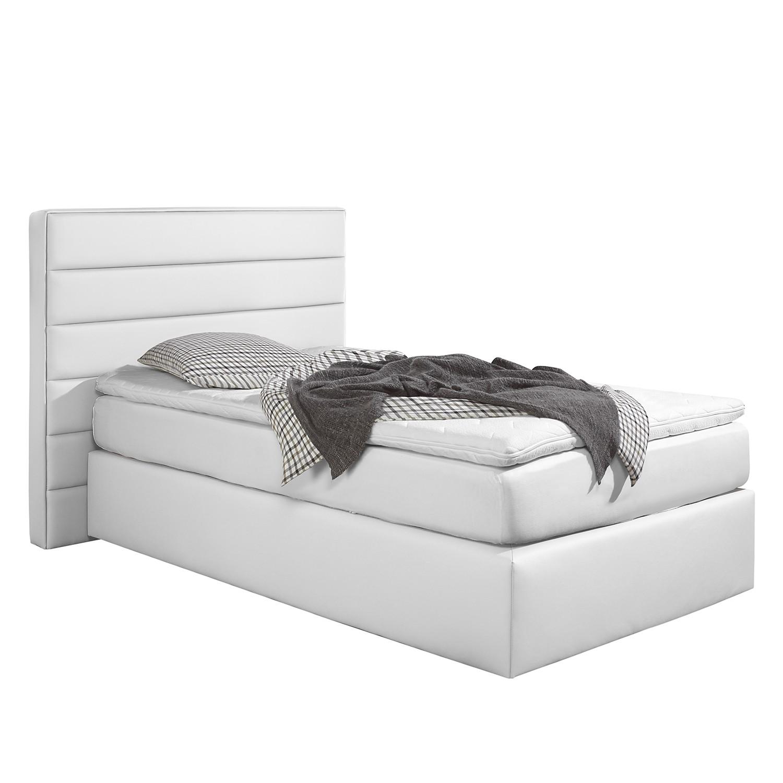 home24 loftscape Boxspringbett Ingebo 100x200 cm Kunstleder Weiß mit Matratze Modern