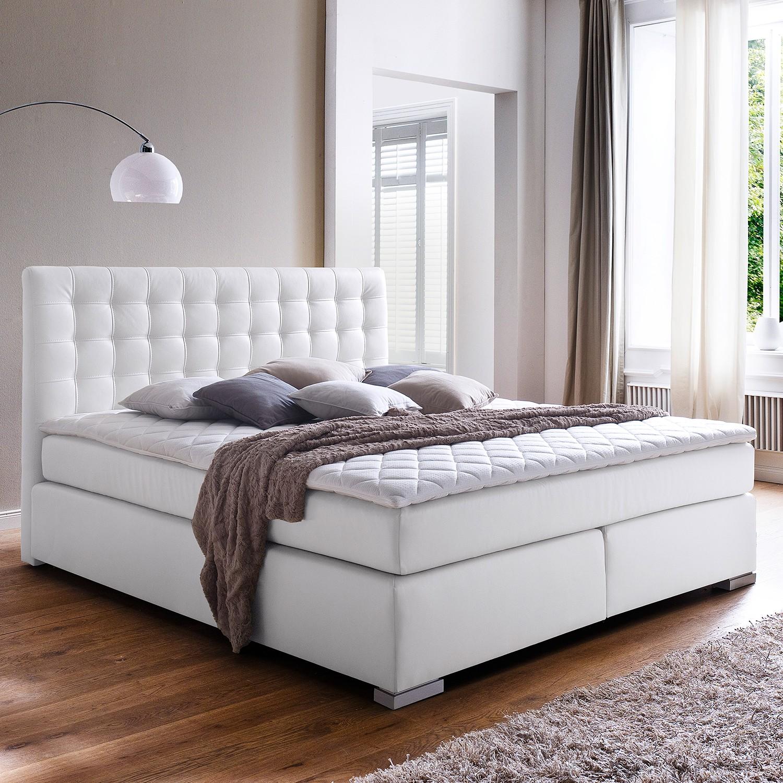 home24 meise.möbel Boxspringbett Isa 200x200 cm Kunstleder Weiß mit Matratze
