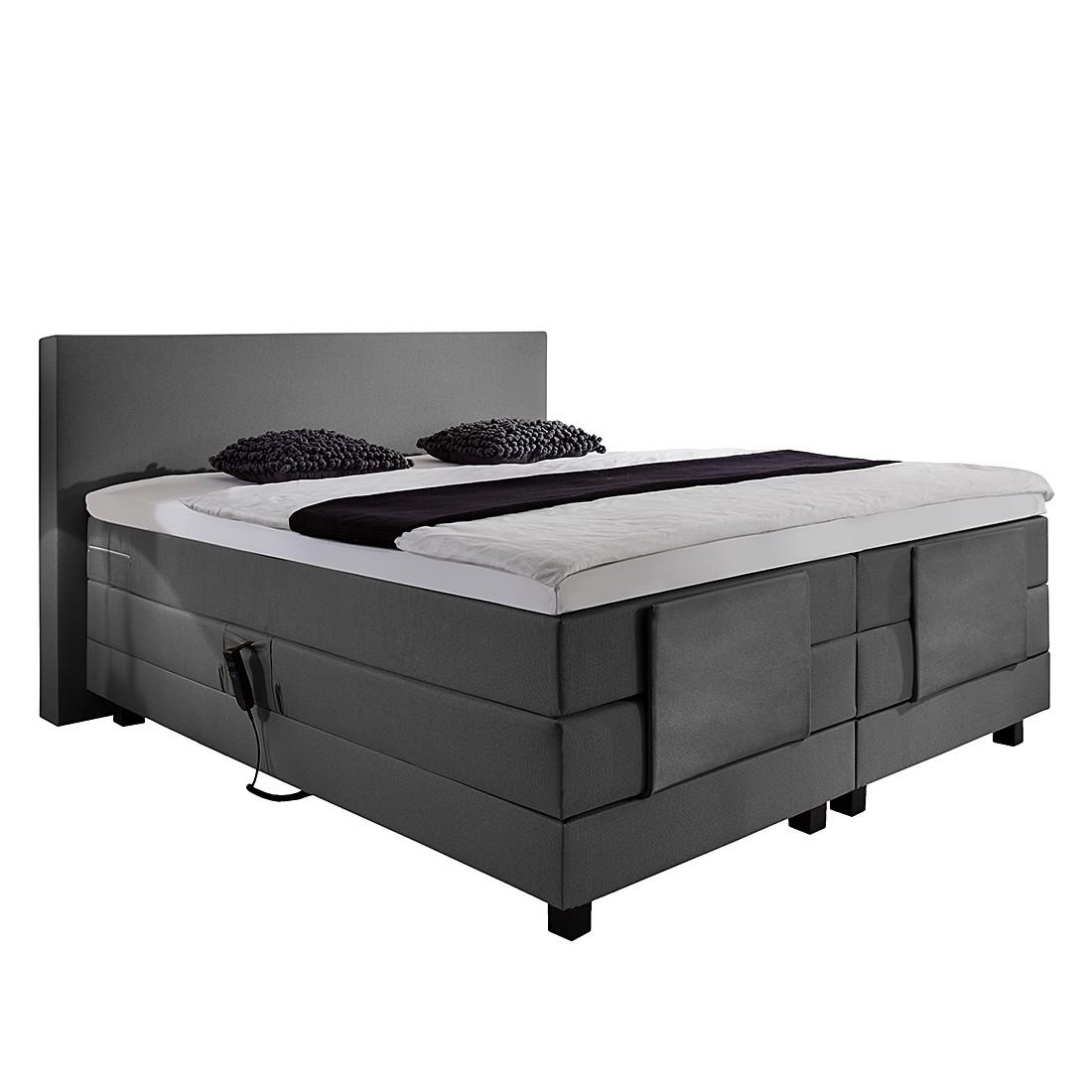 Boxspringbett Jula (motorisch verstellbar) - Inkl. Kaltschaumtopper - Webstoff - 140 x 200cm - H2 bis 80 kg - Grau, Fredriks
