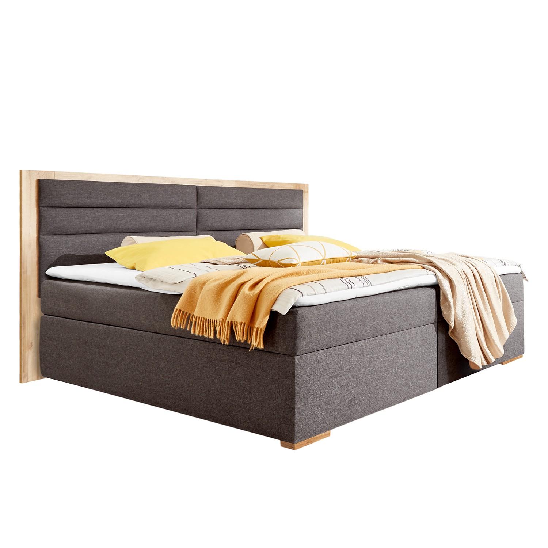 goedkoop Gestoffeerd bed Orlando incl. topper & opbergruimte antracietkleurig eikenhouten planken look Wimex