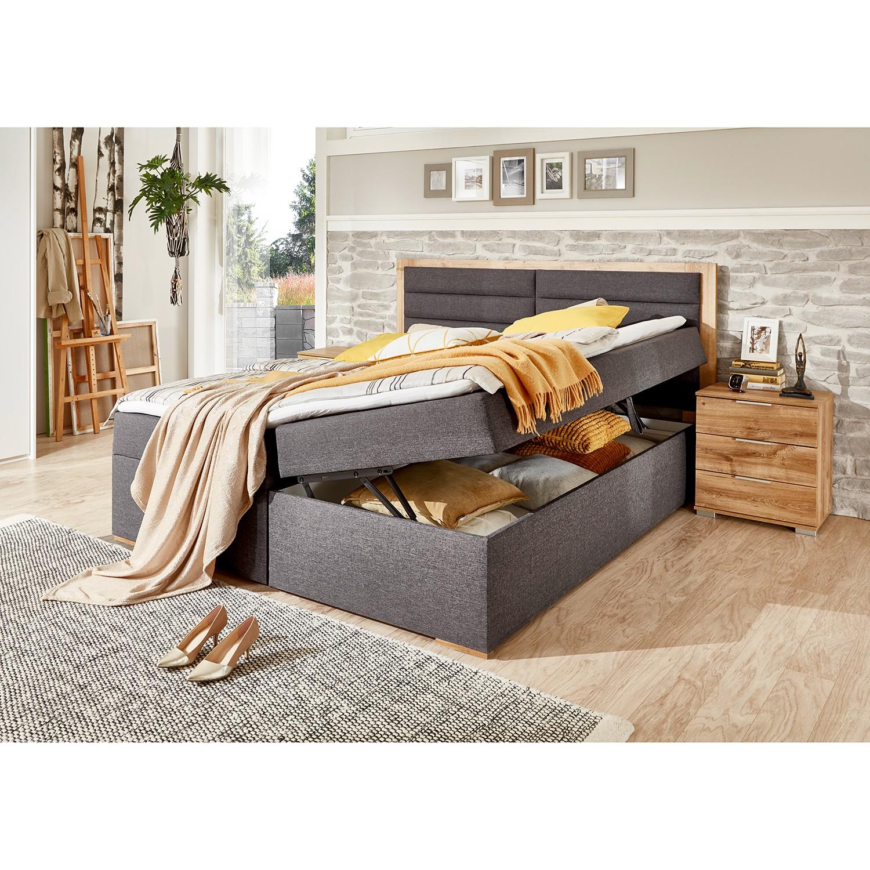 home24 Wimex Polsterbett Orlando 180x200 cm Webstoff/Spanplatte Anthrazit/Plankeneiche Dekor mit Bettkasten/Topper