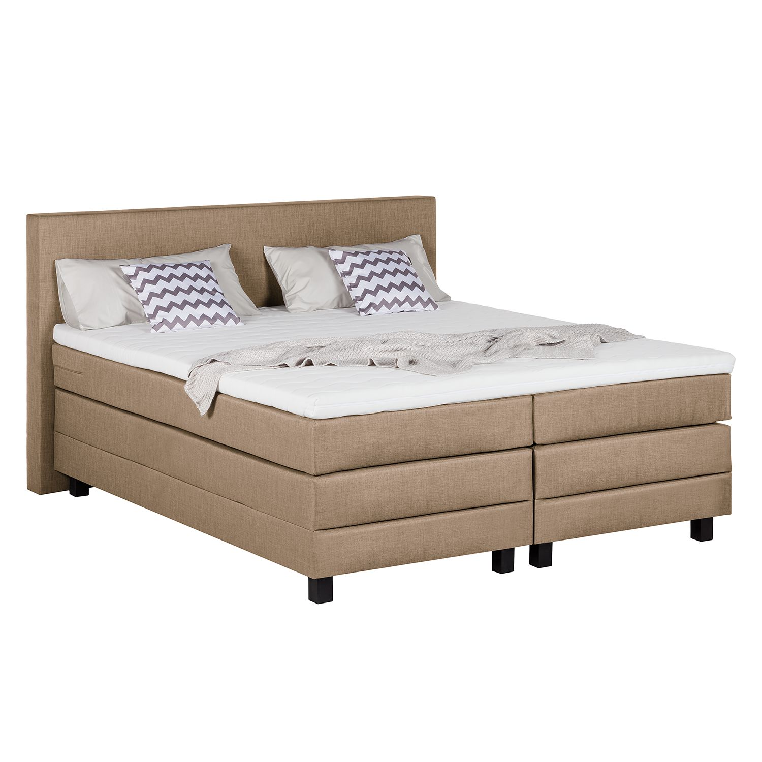 Lit boxspring Splendid Night - 200 x 200cm - D2 jusqu'à 80 kg - Taupe, Grand Selection