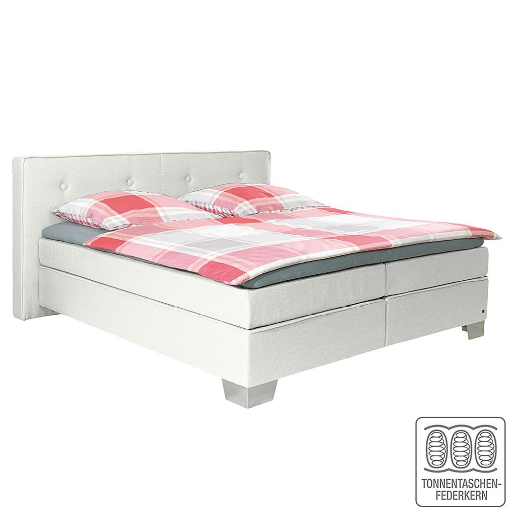 Boxspringbett Soft Box - Webstoff - 160 x 200cm - H2 bis 80 kg - Weiß, Tom Tailor
