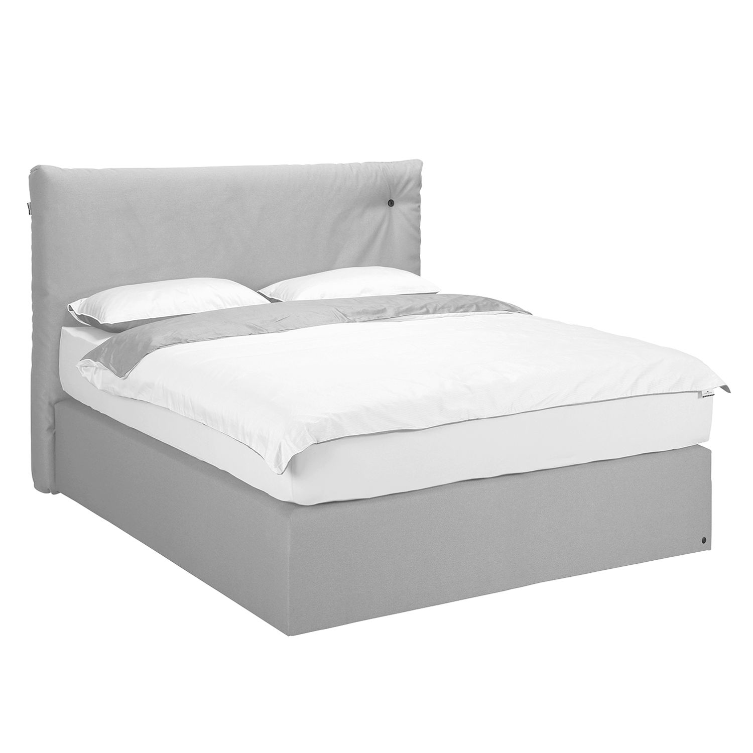 Boxspringbett Soft Cloud Webstoff - 140 x 200cm - H3 ab 80 kg - Stoff TUS19 light grey, Tom Tailor