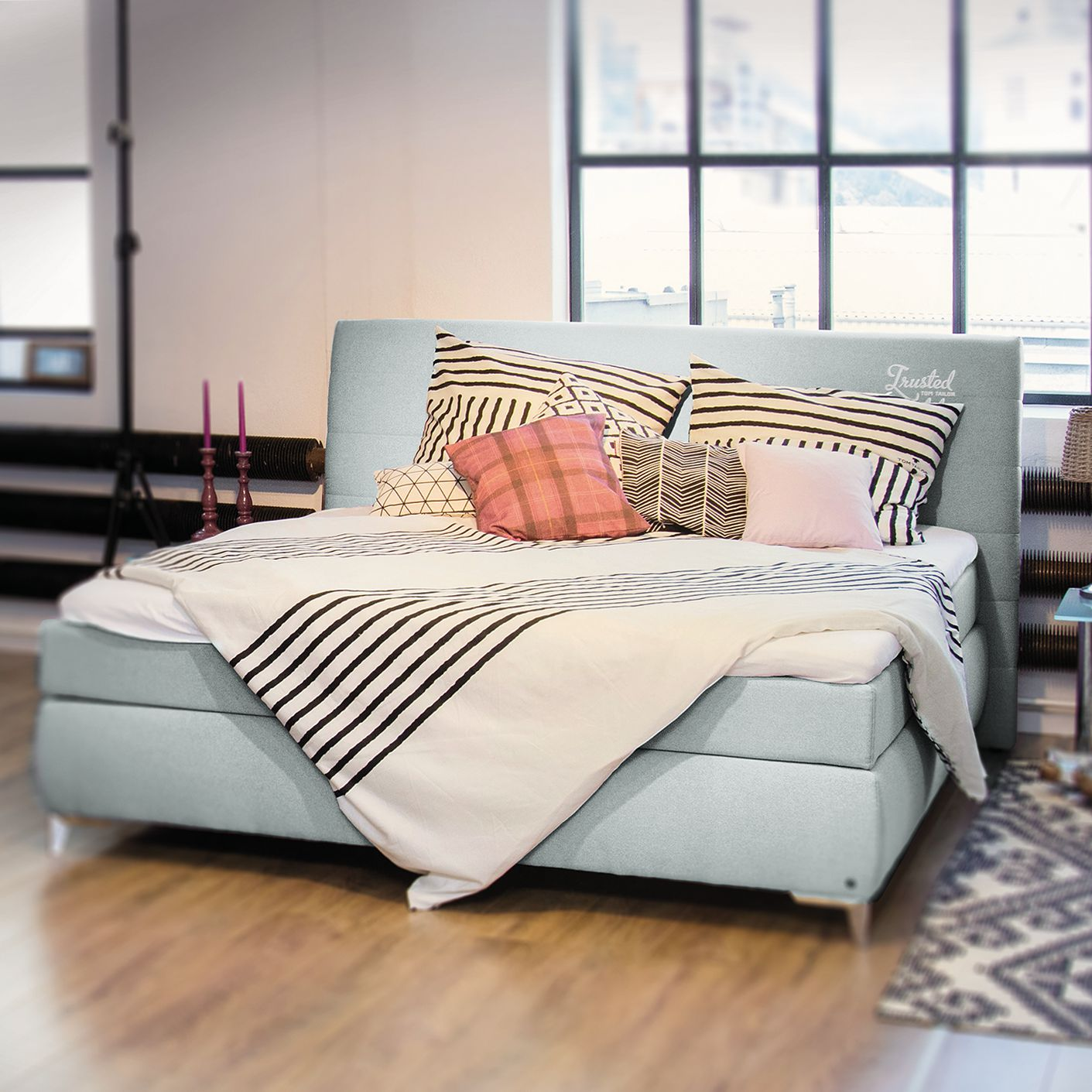 home24 Boxspringbett Soft Line Webstoff