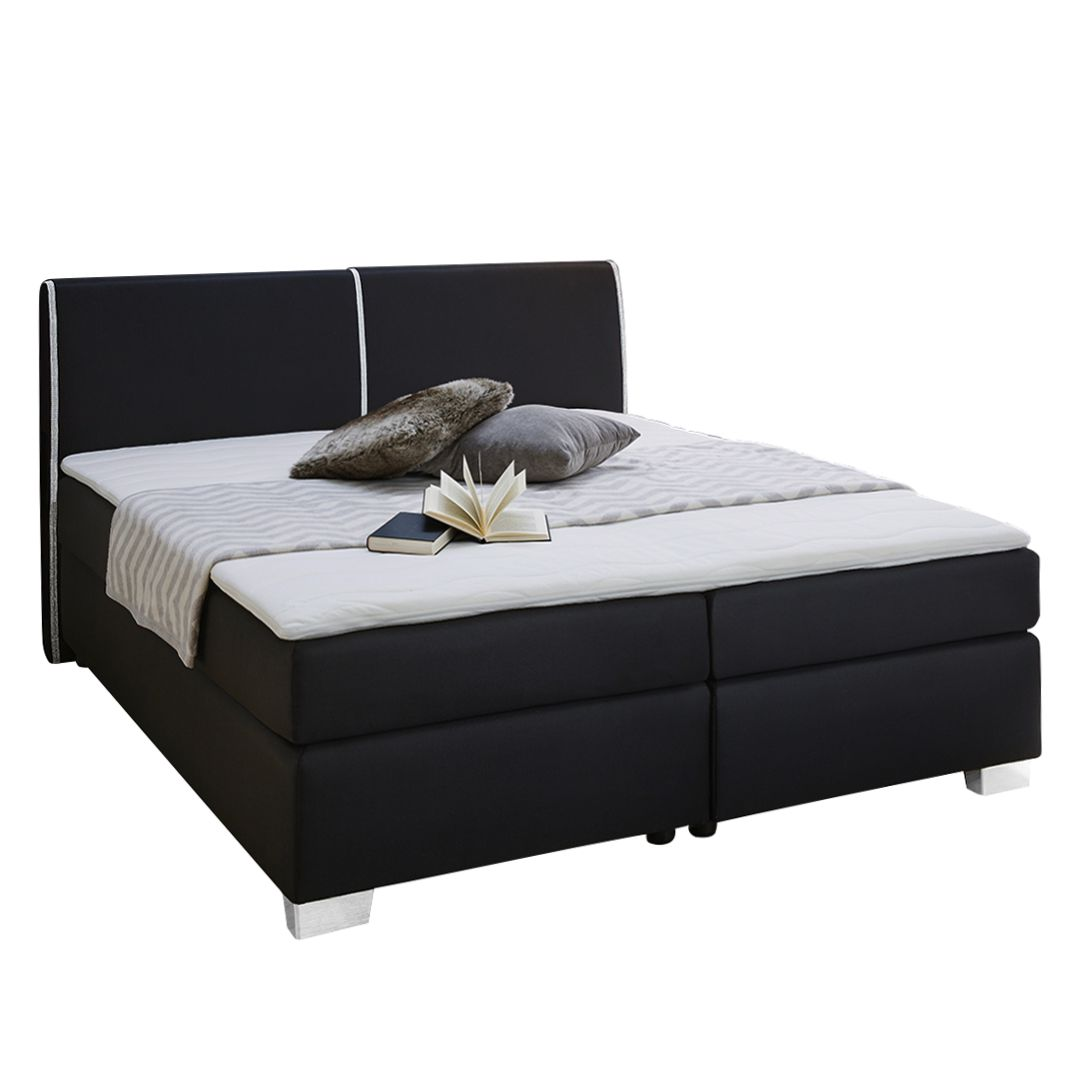 Lit boxspring Vallentuna - Tissu - Noir, Jack and Alice